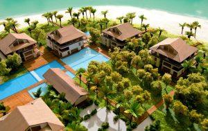 modello architettura plastico ville con vegetazione e paesaggio naturale