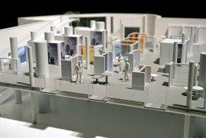 plastico bianco modello interni architettura uffici