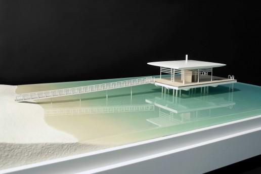plastico modello architettura paesaggio marino villa palafitta