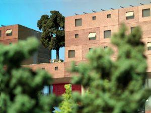 modello architettura paesaggio scala urbanistica con vegetazione