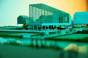 plastico modello architettura paesaggio urbano centro sportivo colori