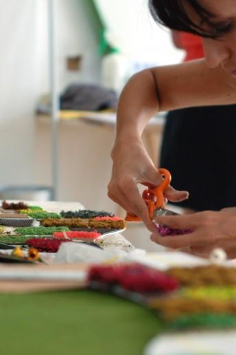 plastico modello architettura in lavorazione materiali colori