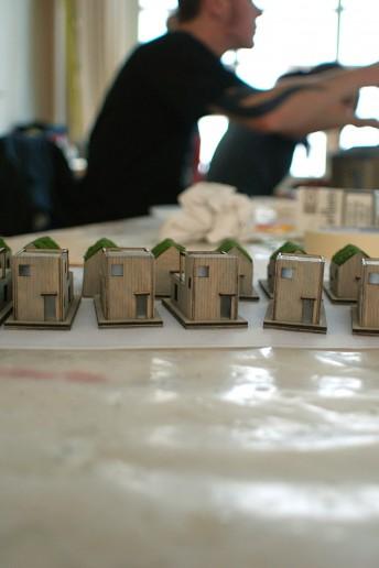 plastico modello architettura villette in lavorazione